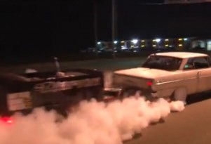 1,100-horsepower Chevy Nova does a burnout...with a trailer