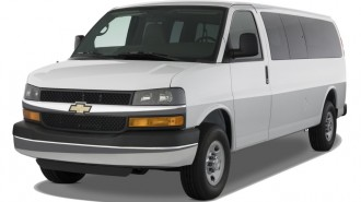 "2010 Chevrolet Express Passenger RWD 3500 155"" LS Angular Front Exterior View"