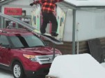 2011 Ford Explorer used as a snowboard rail