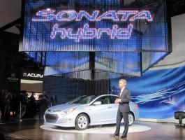 2011 Hyundai Sonata Hybrid at 2010 New York Auto Show at CEO John Krafcik