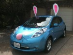 2011 Nissan Leaf electric car in Eastern Bunny costume for Campbell, CA, parade [photo: Paul Stith]