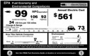 "2011 Nissan Leaf window sticker showing 99-MPG ""fuel economy"" rating, approved by EPA"