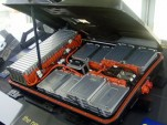 Lithium-ion battery pack of 2011 Nissan Leaf, showing cells assembled into modules