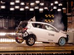 A 2012 Chevy Sonic undergoes frontal offset crash testing. Image: GM Corp.