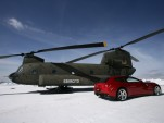 2012 Ferrari FF airlifted to the top of Plan De Corones