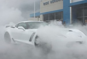 2015 Chevy Corvette Z06 buyer does delivery burnout