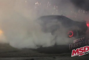 2015 Dodge Challenger SRT Hellcat with rear brakes on fire