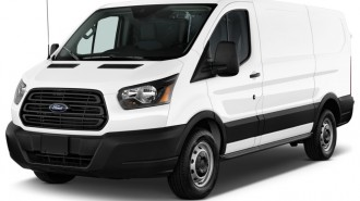 "2015 Ford Transit Cargo Van T-150 130"" Low Rf 8600 GVWR Swing-Out RH Dr Angular Front Exterior View"