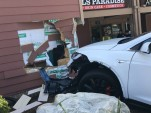 2016 Tesla Model X P90D after crash while owner was parking  [photo: owner 'Puzant']