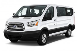 "2017 Ford Transit Wagon T-150 130"" Low Roof XLT Sliding RH Dr Angular Front Exterior View"