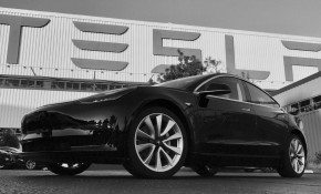 """2017 Tesla Model 3 """"first production"""" car, in photo tweeted by Elon Musk on July 9, 2017"""