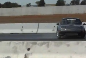 900-hp RB26-powered Miata driver makes heroic save on the dragstrip