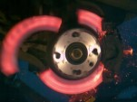 A brake rotor explodes in slow motion