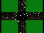 A computer image of autonomous cars at an intersection.