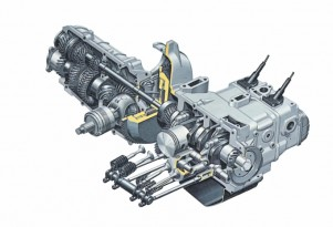 A cutaway view of Subaru's boxer engine