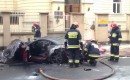 A Ferrari California burns in Warsaw, Poland