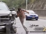 A man crashes and flees after news crew films him passed out on the roadside.