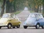 A pair of classic Isetta mini-cars