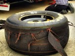 A shredded rear tire from Carl Edwards Sprint Cup car, posted to Instagram by Tanner Foust 