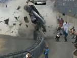 Alan McNish crashes his Audi R18 at Le Mans
