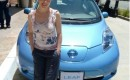 Alyssa Milano with the Nissan Leaf