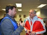 Audi Customer Racing chief Romolo Liebchen (right) being interviewed at Daytona, 2014