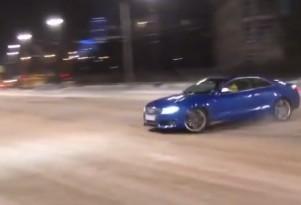 Audi S5 drift goes wrong