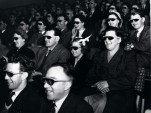 Audience wearing special glasses watch a 3D 'stereoscopic film' (UK National Archives)