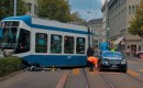 Bentley Continental takes on a Tram in Zurich