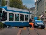 Bentley Continental takes on a Tram in Zurich