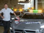 Bernd Maylnder with the 2013 SLS AMG GT F1 safety car