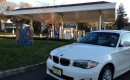 BMW ActiveE electric car at closed NJ gas station after Hurricane Sandy [photo: Tom Moloughney]