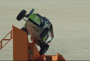 Brent Fletcher launches the Hot Wheels buggy in record corkscrew jump attempt