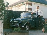 Brian Smith with his 1966 Mini Cooper in 1970. Image via Daily Mail.