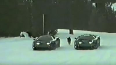 Bugatti EB110 prototypes testing in the snow