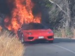 Burning Ferrari 360 Modena owned by Valencia soccer player Ever Banega