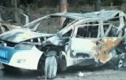 BYD e6 Electric Taxi Burns After 112-MPH Drunk Supercar Driver Crash