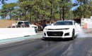 Camaro ZL1 running 9's at the dragstrip with drag radials and a shot of nitrous