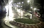 Car flies through roundabout after driver falls asleep at wheel