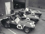 Carroll Shelby with 3 Cobra roadsters in 1963
