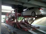 Cars crushed as transporter rams bridge. Photo via Fox 16 News.