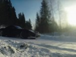 Chevrolet Corvette drifting on an icy road in Russia