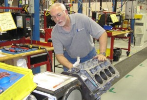 LS V-8 engine assembly, Wixom Performance Build Center, Michigan