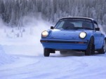 Chris Harris demonstrates oversteer in a Porsche 911 on ice