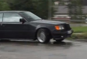Chris Harris gets the AMG Hammer sideways in the wet