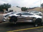 Chrome-wrapped Lamborghini Gallardo crashed in East Lansing, MI. Photos by Sheldon Little.