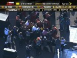 Crews for Jeff Gordon and Clint Bowyer brawl in Phoenix- image grab from ESPN video