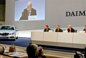 Daimler CEO Dieter Zetsche speaks at the press conference