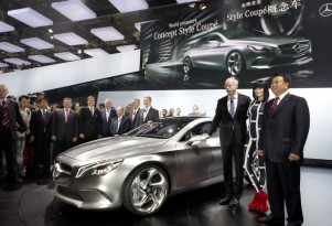 Daimler CEO Dieter Zetsche with the Mercedes-Benz Concept Style Coupe in China