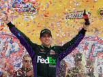 Denny Hamlin celebrates his second 2012 win at Kansas - NASCAR photo